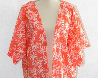 Palm print fringe kimono jacket