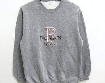 RARE!!! Pierre Balmain Paris Big Logo Embroidery Crew Neck Grey Colour Sweatshirts Hip Hop Swag M Size