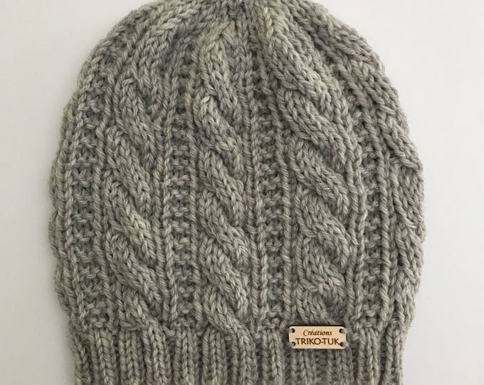 Hat woman cable 100% Merino Wool