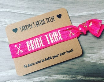 Bride Tribe personalised card with hair ties / hair elastics / yoga bands / bracelets - lots of designs - hen party favours