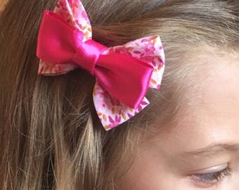 Pink Hair bow, Girls flower bow, Floral vintage bow, satin hair accessoies, hair accessories, hair clip, childrens hair bow, kids hair piece