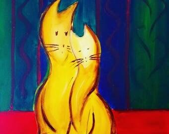 Cat lovers, original acrylic 16x20 painting