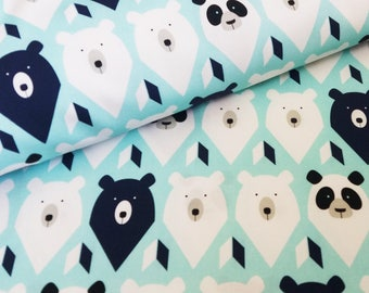 Winter cotton fabric, kids fabric by the yard, cute fabric bears, mint cotton fabric animal pattern for sewing crafting, fabric for babies