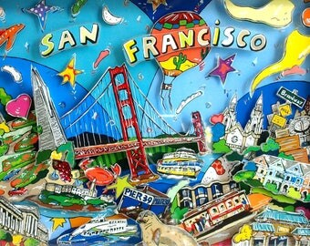 San Francisco Frisco 3D Pop Art skyline architecture print USA souvenir Golden Gate Bridge California