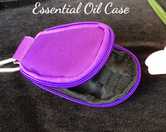 Purple Keychain Travel Bag for Essential Oil Bottles Carrying Case For 10 Drams