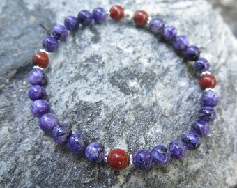 Charoite bracelet with red Jasper, with 925 Silber