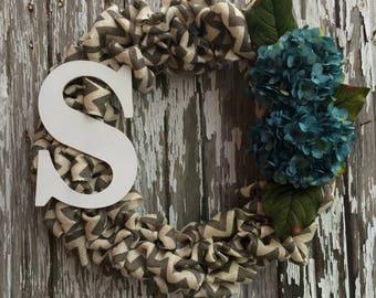 Gray Chevron Burlap Wreath with Turquoise Hydrangeas | Monogram Initial S Wreath | Home Decor | Front Door Decoration | Shabby Chic | Gift