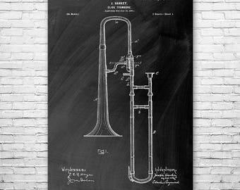 Slide Trombone Poster Patent Art Print Gift, Trombone Art, Trombone Patent, Trombone Player, Marching Band, Band Teacher, Band Instructor