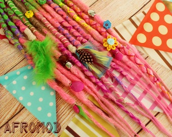 """Double Ended Synthetic Dreads Extension Ready Made Ready to Ship Crochet Green Pink Dreadlocks """"Festival Set"""" Afromod"""