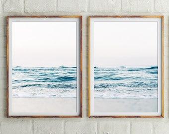 Set Of 2 Prints, Coastal, Minimal Wall Art, Beach Print, Ocean Print, Wall Decor, Wall Art, Prints, Blue Wall Art, Ocean Waves, Australia