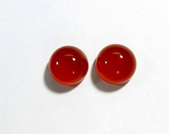 16Cts 12x12x7mm Carnelian Round Cabochon Loose Gemstones Natural Top Quality Carnelian 12x12mm For Jewelry Making 2 Pieces Pair