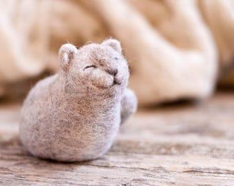Felt cat, needle felt cat, grey cat, needle felted animal, wool felt cat,  miniature animal, waldorf cat, waldorf animal, orange tabby cat,