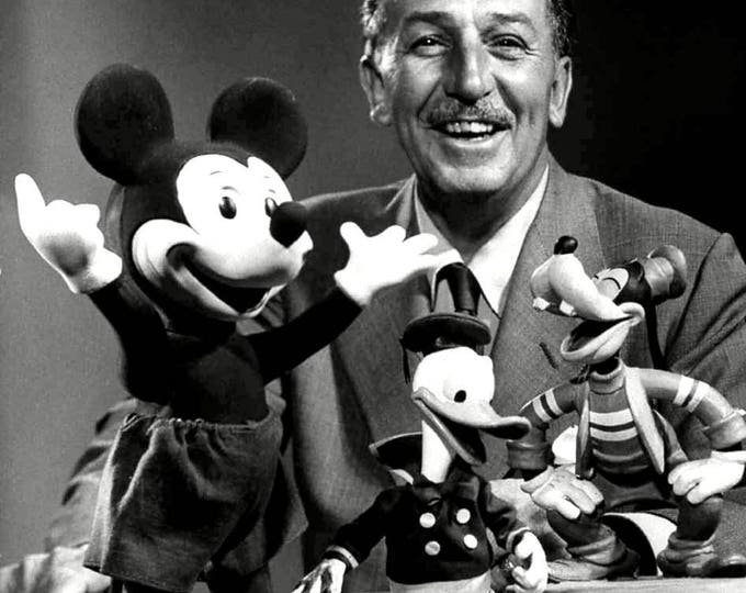 Walt Disney and Some of His Well-known Characters - 5X7, 8X10 or 11X14 Publicity Photo (AB-166)