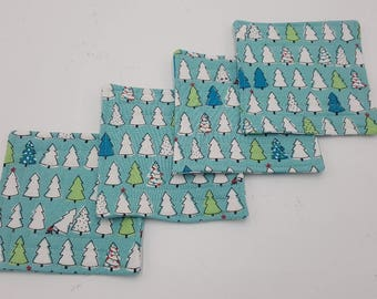 Tree Happy Quilted Christmas Coasters - Set of 4 and Free Shipping!