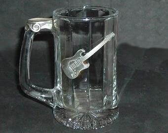 GLASS & PEWTER Beer Stein/Tankard Guitar