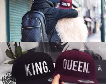 KING and QUEEN 3D Embroidered Flat Bill Snapback Cap