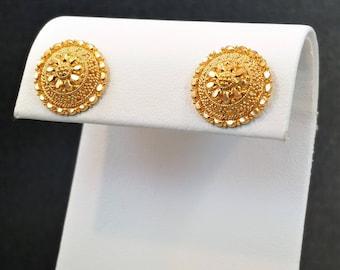 GOLDSHINE 22K Solid Gold Earrings Jewelry Ornament Stud Screw Back Genuine & Hallmarked 916