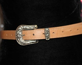 Genuine Tan Leather Belt with Silver Buckle *Excellent Condition