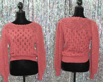 80's Salmon Pink Knit Sweater by Knittery (L)