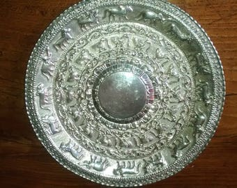 Antique Asian Silver dish with animals