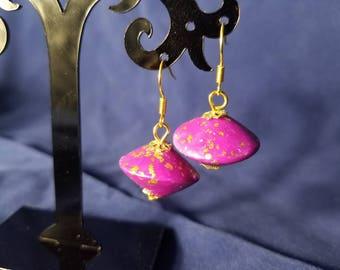 Purple Clay Earrings w/Gold Flakes #PL3220