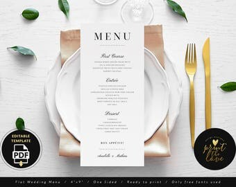 Wedding Menu Template Printable, Wedding Menu Card Template, Editable Wedding Menu PDF, Elegant Wedding Menu Printable, DIY (Anabelle)