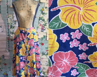 Vintage 1990s Lightweight Button Up Floral Hawaiian Midi Skirt. Small. Hibiscus, pink, yellow, blue.