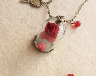 Bottled rose necklace