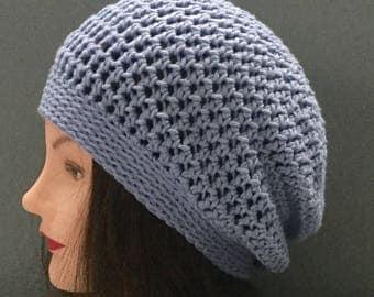 Summer cotton crochet slouchy beanie hat blue