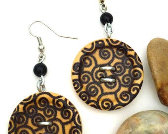 "Earrings ""Matted wooden button"""