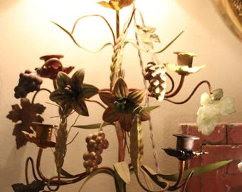 Pair of lamps, French vintage lamps, Wrought iron lamps, Flowers leaves grapes lamps, Tole lamps, Pair of lamps, Candleholders Candlesticks