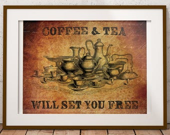 PRINTABLE COFFEE ART - Instant Download - Coffee & Tea - Home Decor