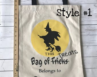 Halloween Trick-or-Treat bags, canvas bags, candy bags, Halloween bags with handles