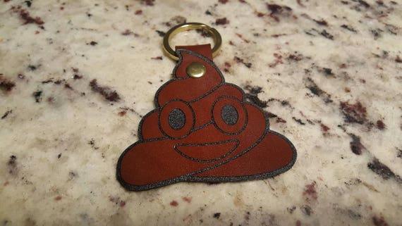 Poop Emoji Premium Leather Keychain