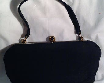 1940s Black Fabric Handbag / Purse