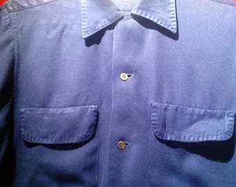 1950s Rayon Shirt - Navy Blue / 50s Vintage Shirt / make  - ARROW