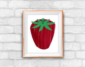 strawberry print, kitchen decor, downloadable print, instnant download art, wall decor