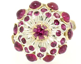 Vintage 14k White Yellow Gold 2.0ctw Pyramid Ruby Waterfall Flower Cluster Ring