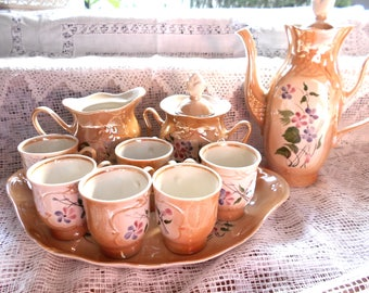 Retro dinnerware Set of 6 coffee cups Expresso cups 6 cups and saucers Russian coffee cup Soviet vintage Ruska cup and saucer