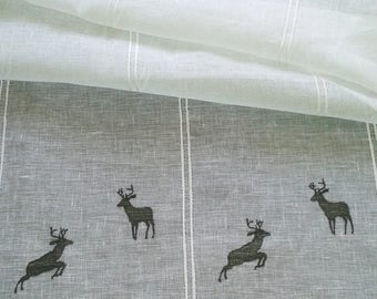 Curtain sheer linen with its embroidered chamois Bunting