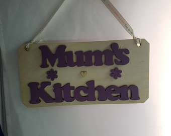 "Lovely wooden handcrafted made mothers day birthday gift small but unquie ""mums kitchen"" birchwood handpainted words with flowers heart sign"