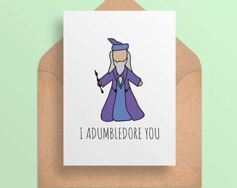 Valentine Card Printable - Harry Potter Valentine Card - I Adumbledore You - Dumbledore - Cute Funny Card -- Digital Download/Printable
