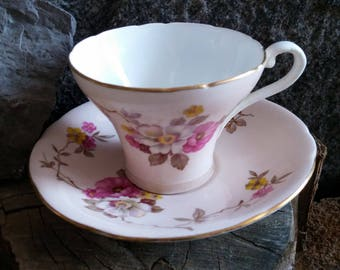 Aynsley Tea Set   Corset Teacup and Saucer Set, Made in England, Pink Teacup, Gold Gilt, Aynsley Teacup, Mother's Day Gift, Gift for Mom