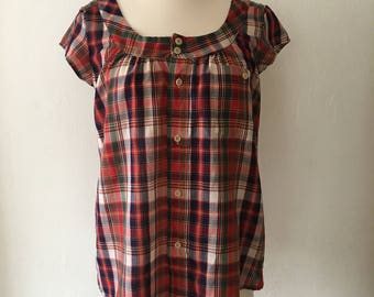 Vintage 90s Womens Plaid Button Down Blouse Top Shirt Size Small - Medium