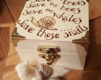 Cute wooden box with your message or idea burnt on it