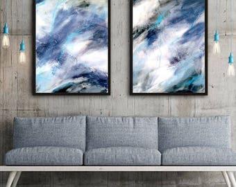 Giclee abstract print, Blue Gray Abstract Painting, Set of 2, Abstract painting, Canvas painting,  Home Decor, Wall Art, Acrylic,