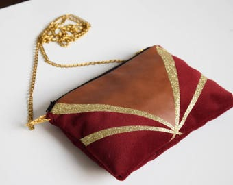 Clutch bag in Burgundy velvet with string Art Deco