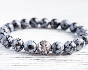 Mens Obsidian Bracelet Daddy Bracelet Casual Mens Gray Matte Bracelet Game of Thrones Boyfriend Bracelet Husband Beads Bracelet Gift for Him