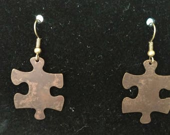 Bronze Puzzle Piece Earrings