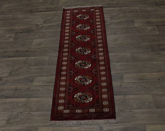 Excellent Hand Knotted Runner Turkoman Persian Area Rug Oriental Carpet 2X6ʹ5